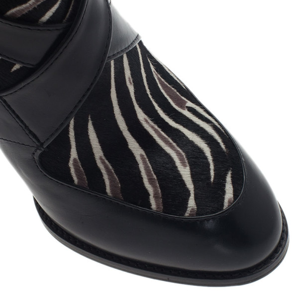 Tod's Zebra Pony Hair and Leather Ankle Boots Size 39.5