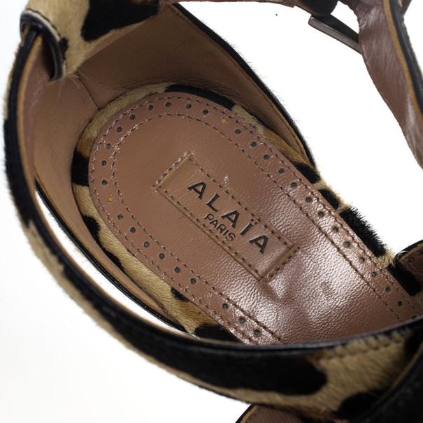 Azzedine Alaia Pony Hair Ankle Strap Frame Wedges Size 38
