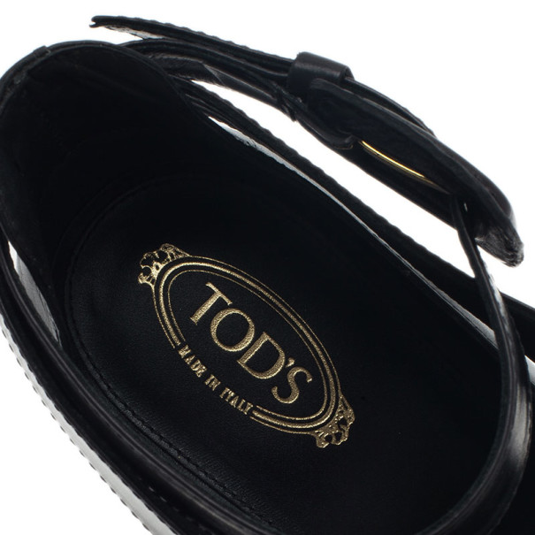 Tod's Black Leather Cross Strap Pumps Size 38