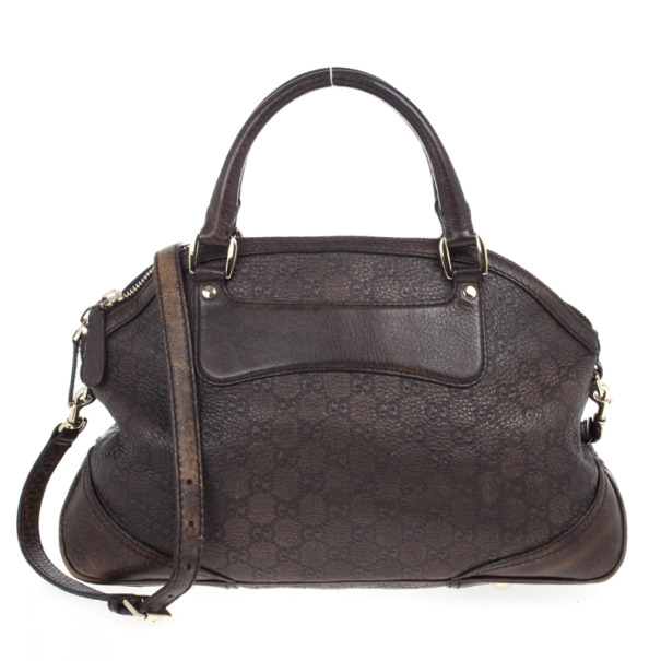 Gucci Brown Cathrine Medium Monogram Top Handle Bag with Horsebit Detail