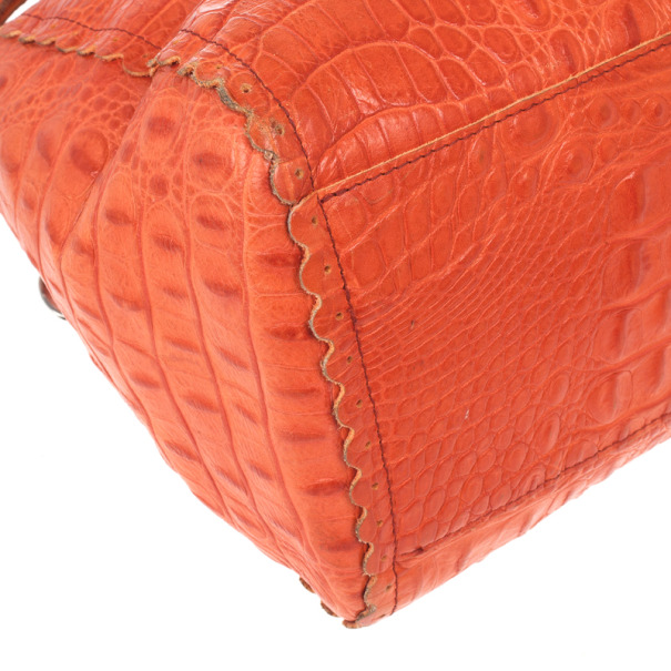 Furla Croc Embossed Bowling Bag