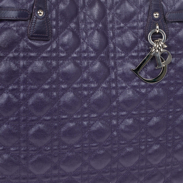 Christian Dior Purple Coated Canvas 'Panarea' Medium Tote