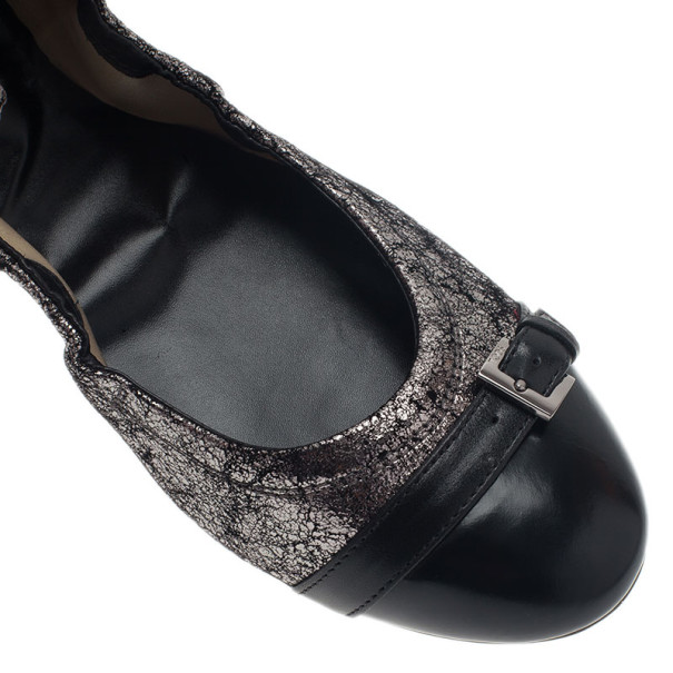 Tod's Silver Cap Toe Buckle Ballets Flats Size 40