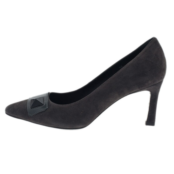 Tod's Grey Suede Embellished Pumps Size 38