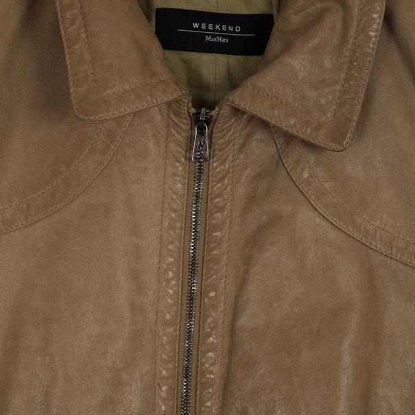 Max Mara Crop Leather Jacket M
