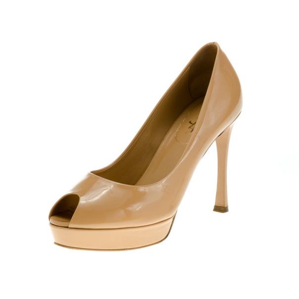 Saint Laurent Paris Beige Patent Palais Peep Toe Platform Pumps Size 39