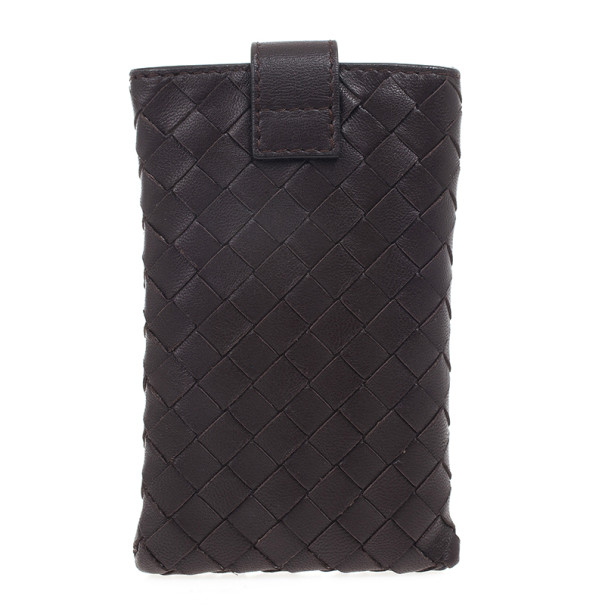 Bottega Veneta Brown Leather Intrecciato iPhone 4 Cover