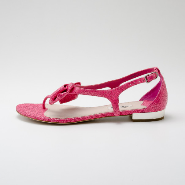 Miu Miu Pink Textured Leather Bow Detail Sandals Size 39