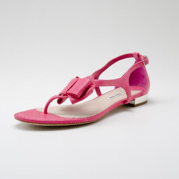 Miu Miu Pink Textured Leather Bow Detail Sandals Size 39