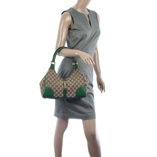 Gucci Canvas Monogram Bardot Green Bag