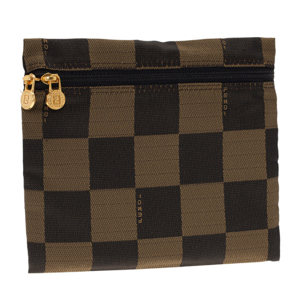 Fendi Brown Checkered Vintage Pouch