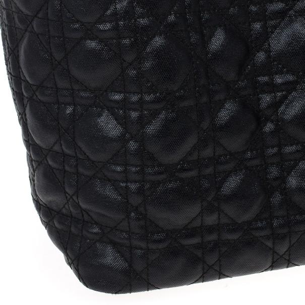 Dior Black Coated Canvas 'Panarea' Medium Tote