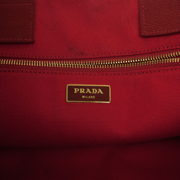 Prada Logo-Print Large Canvas Tote