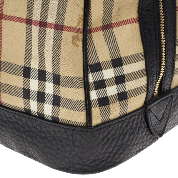 Burberry Haymarket Check Coated Canvas Medium Bowling Bag