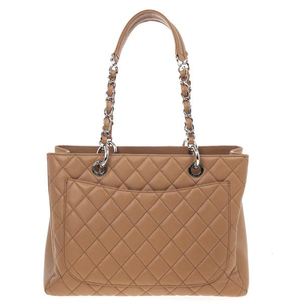 Chanel Camel Beige Caviar Grand Shopper Tote GST Bag