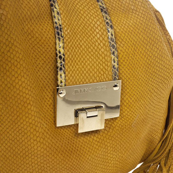 Jimmy Choo Beige Leather & Python Riki Hobo