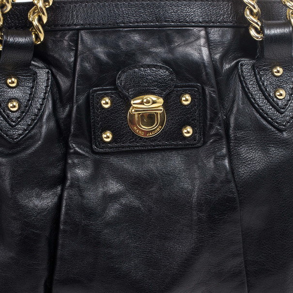 Marc Jacobs Black Leather Mix Quilted Classic East-West Tote Bag