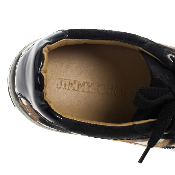 Jimmy Choo Portman Camouflage Pony Hair Sneakers Size 43