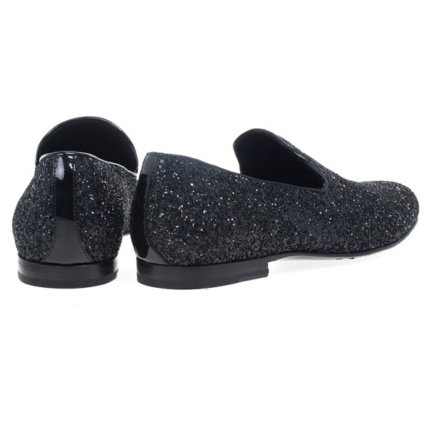 Jimmy Choo Black Coarse Glitter Sloane Smoking Slippers Size 42