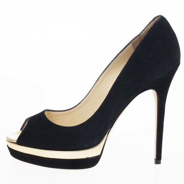 Jimmy Choo Black Suede Brulee Platform Peep Toe Pumps Size 38