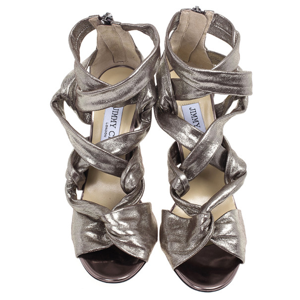 Jimmy Choo Metallic Suede Knotted Kemble Sandals Size 37.5