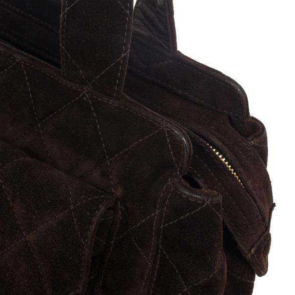 Chanel Black Leather Diamond Quilted Vintage Velour Shoulder Bag