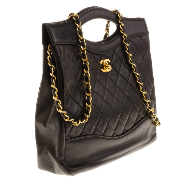 Chanel Vintage Black Quilted Leather 2 Way Shoulder Hand Bag