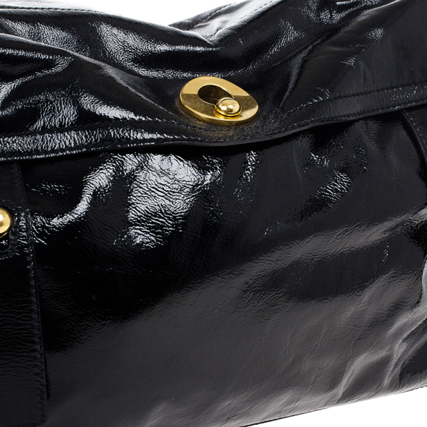 Saint Laurent Paris Black Patent Leather and Suede Large Muse Two Bag