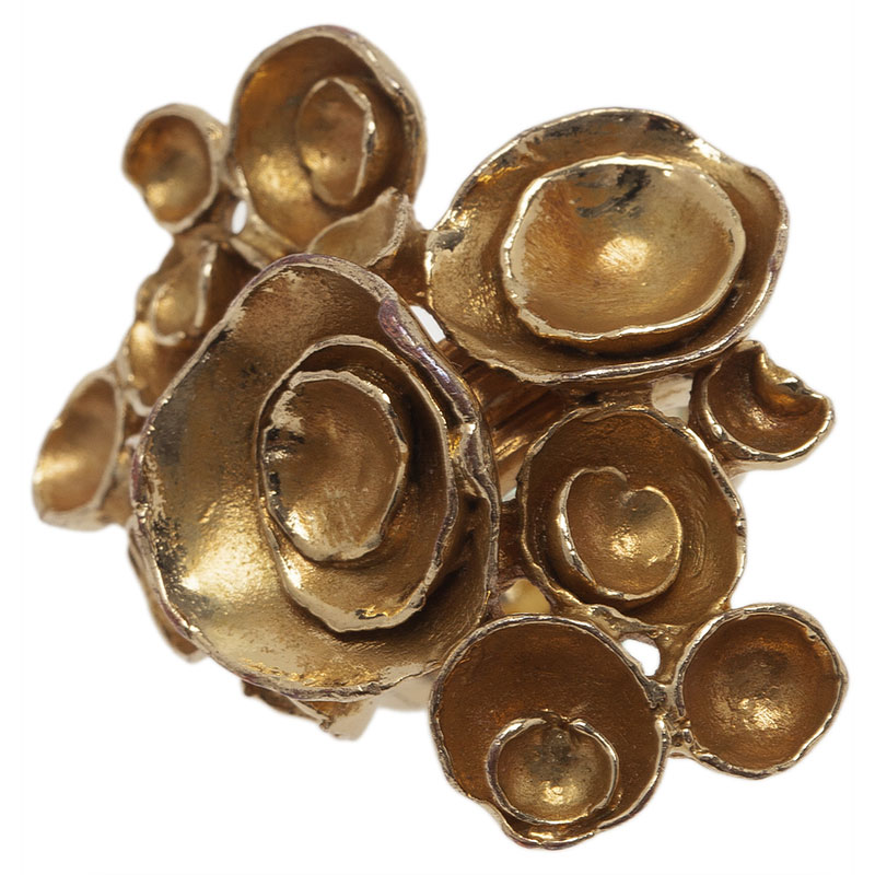 Saint Laurent Paris Arty Flower Gold Tone Ring Size 49