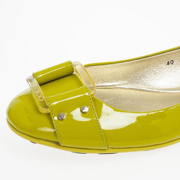 Jimmy Choo Green Patent Morse Ballet Flats Size 40