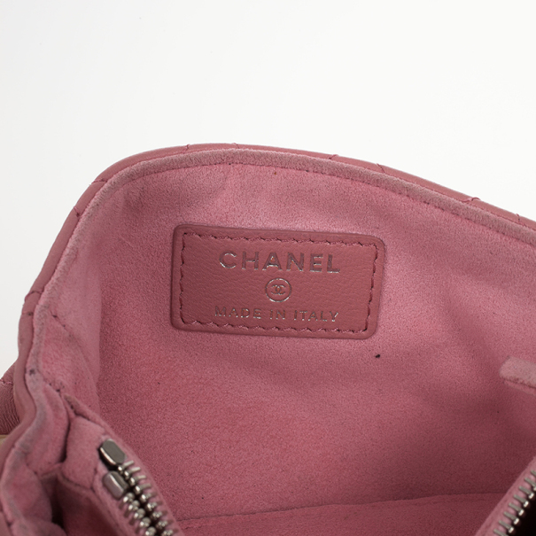 Chanel Pink Quilted Leather Smart Clutch