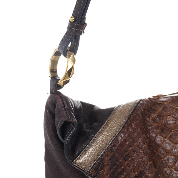 Chloe Python and Leather Envelope Clutch