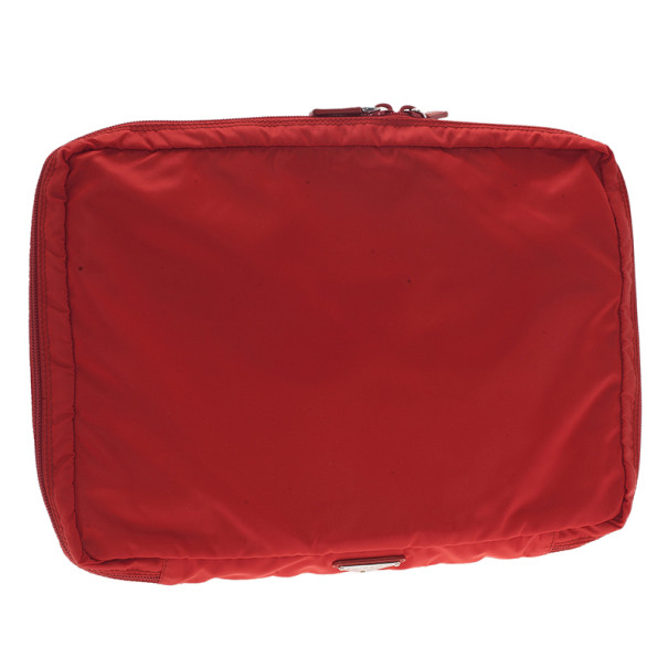 Prada Red Nylon Zip Top Travel Case