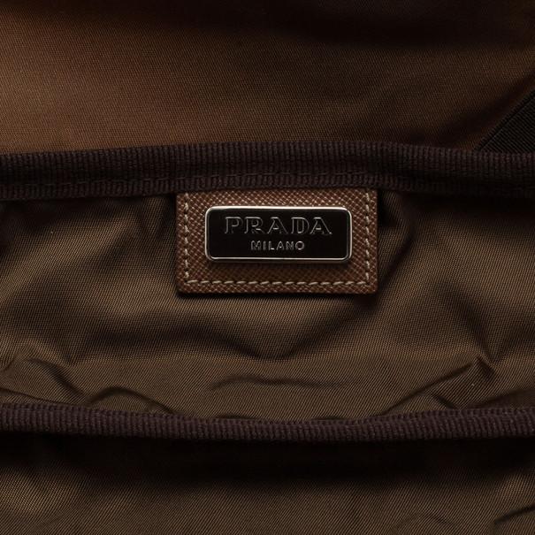 Prada Brown Nylon Zip Top Travel Case