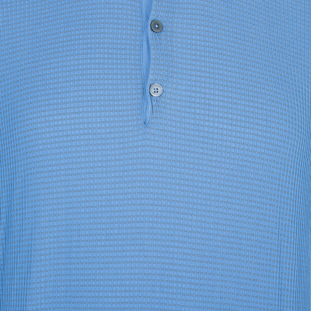 Hermes Blue Textured Mens Polo Shirt XXXL