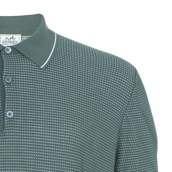 Hermes Green Textured Mens Polo Shirt XXXL