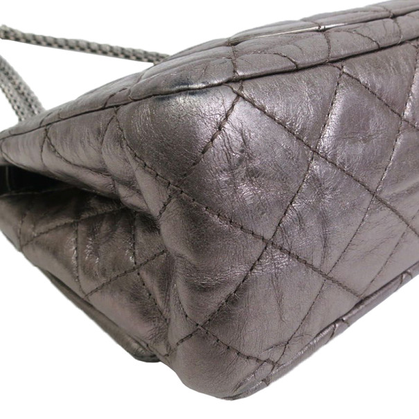 Chanel Grey Lambskin Jumbo 2.55 Flap Bag