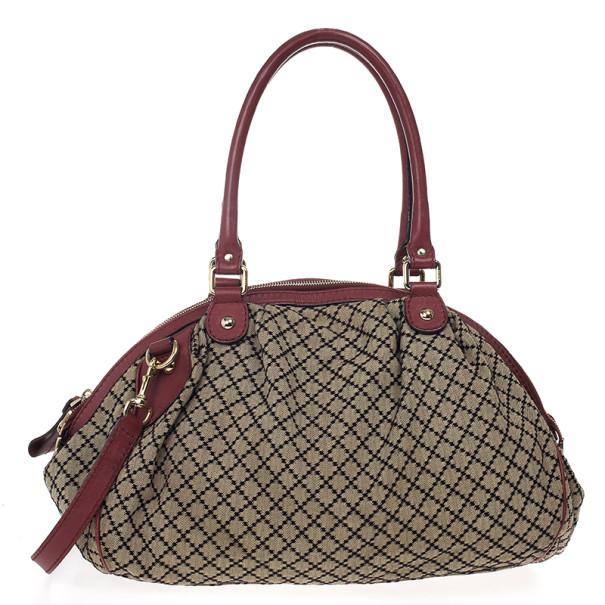 Gucci Diamante Canvas Sukey Dome Bag