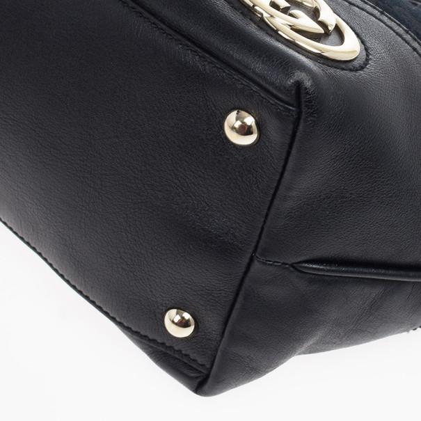 Gucci Black GG Canvas Britt Medium Tote Bag