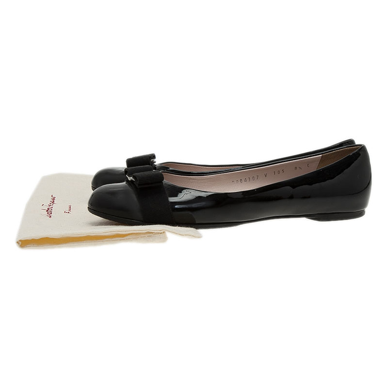 Salvatore Ferragamo Black Leather Varina Ballet Flats Size 39