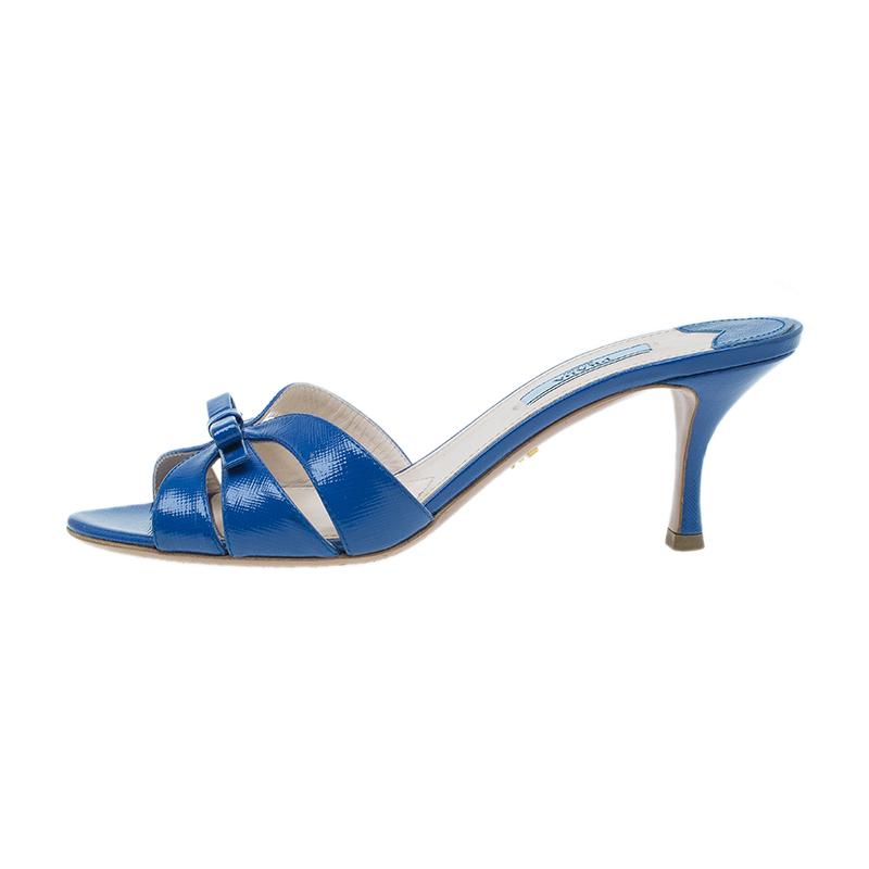 Prada Blue Leather Bow Slides Size 38