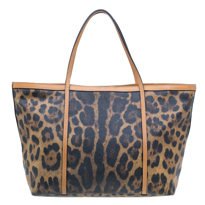 Dolce and Gabbana Leopard Print Coated Canvas Tote Bag