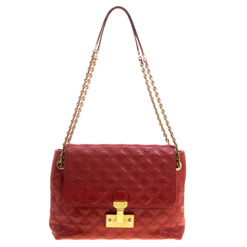 Marc Jacobs Red Quilted Leather Baroque Shoulder Bag Nextprev Prevnext