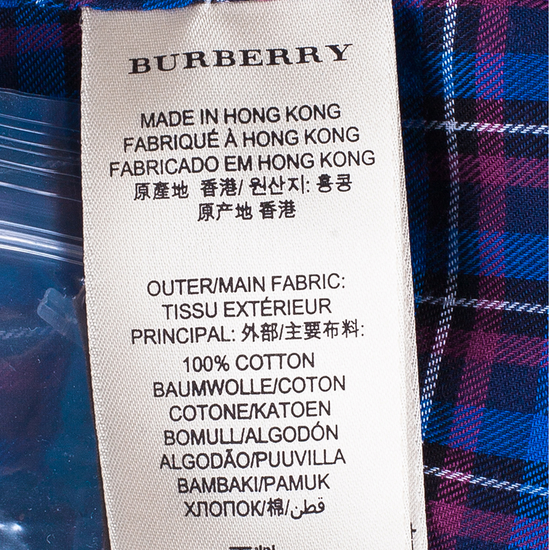 Burberry Men's Blue Check Button Down Shirt XXL