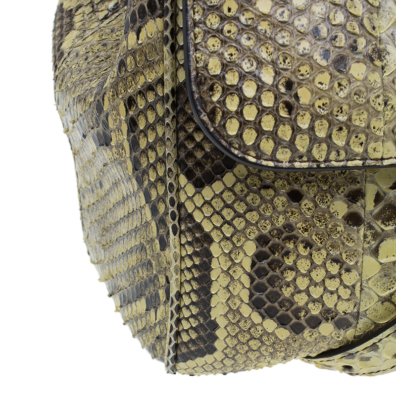 Dolce and Gabbana Yellow Python Medium Miss Sicily Satchel Bag
