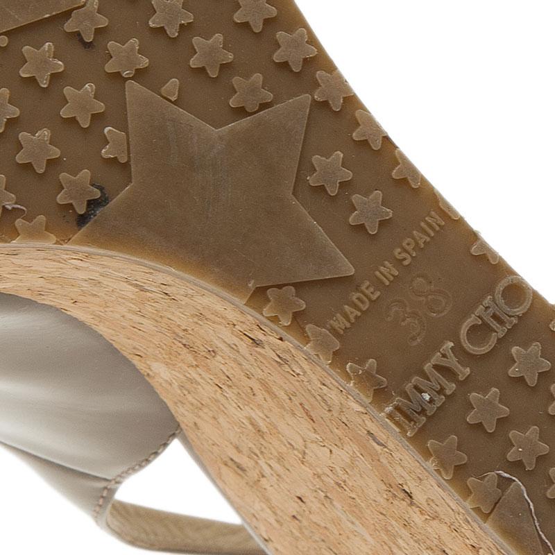 Jimmy Choo Grey Patent Prova Slingback Cork Wedge Sandals Size 38