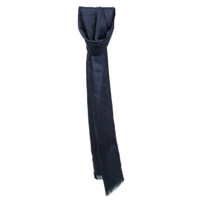 Burberry Navy and Black Printed Silk Stole