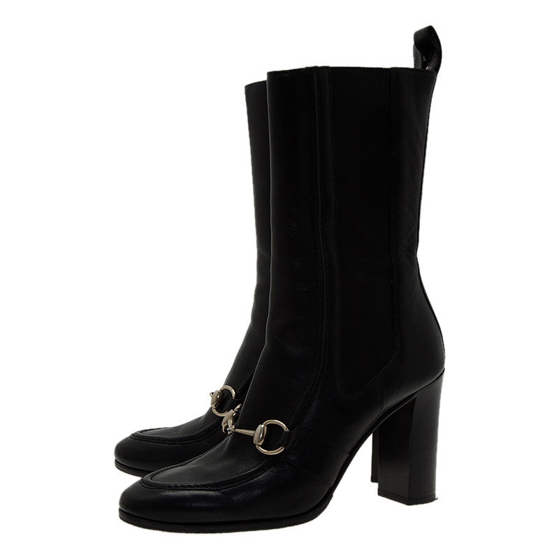 Gucci Black Leather and Elastic Horsebit Ankle Boots Size 36