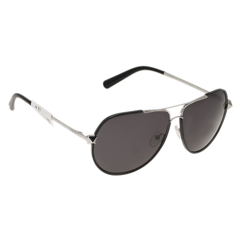 Valentino Black and Silver V116S Rockstud Aviators