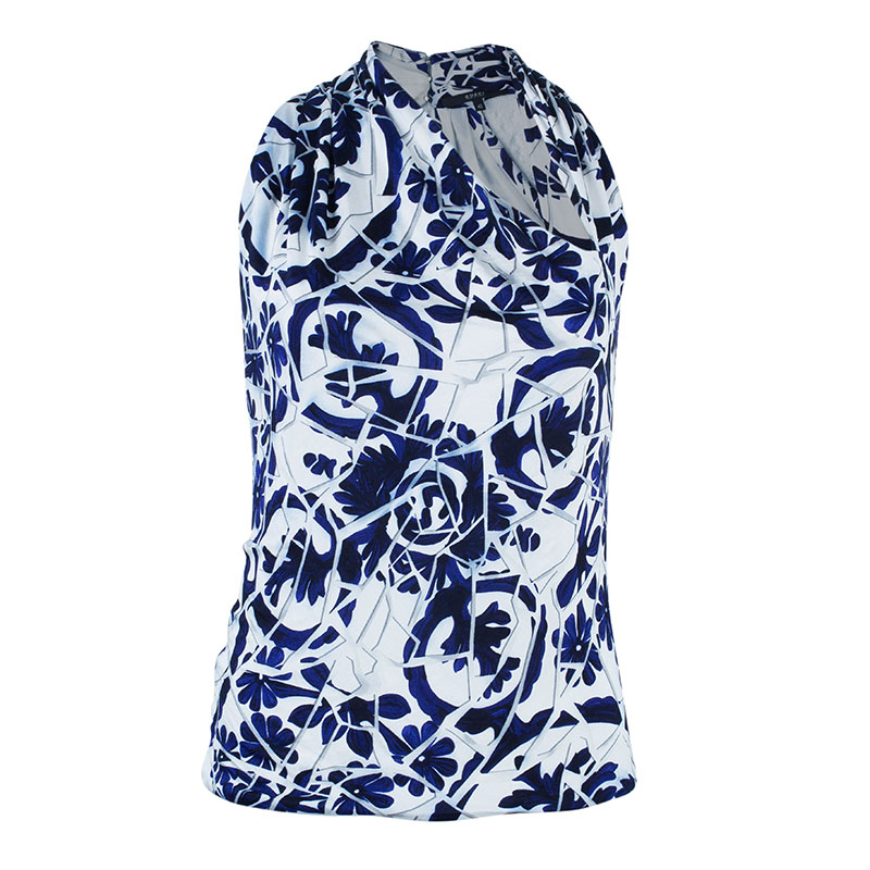 Gucci Blue White Halter Floral Top M